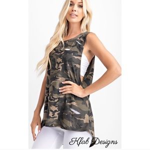 New! Laser Cut French Terry Camo Sleeveless Top